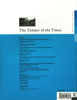 Back cover of Performance Research: Volume 1 Issue 1 - The Temper of the Times