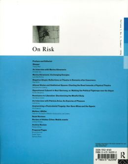 Back cover of Performance Research: Volume 1 Issue 2 - On Risk
