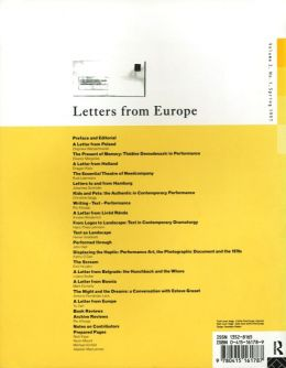 Back cover of Performance Research: Volume 2 Issue 1 - Letters from Europe