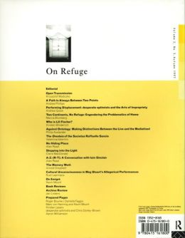 Back cover of Performance Research: Volume 2 Issue 3 - On Refuge