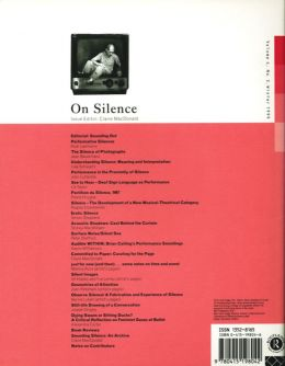 Back cover of Performance Research: Volume 4 Issue 3 - On Silence