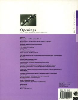 Back cover of Performance Research: Volume 5 Issue 1 - Openings