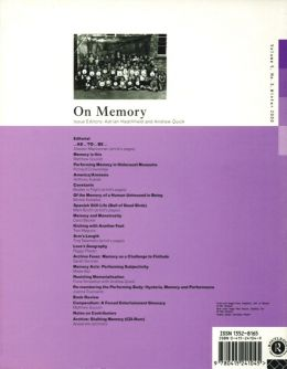 Back cover of Performance Research: Volume 5 Issue 3 - On Memory