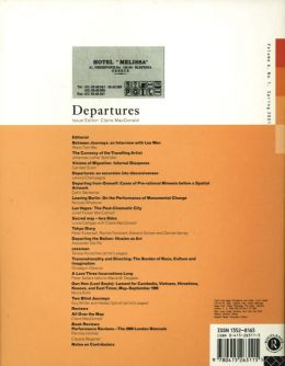 Back cover of Performance Research: Volume 6 Issue 1 - Departures