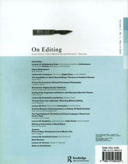 Back cover of Performance Research: Volume 7 Issue 1 - On Editing