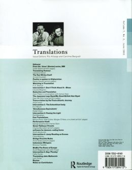Back cover of Performance Research: Volume 7 Issue 2 - Translations