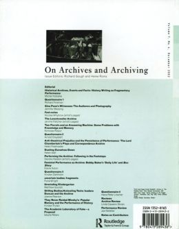 Back cover of Performance Research: Volume 7 Issue 4 - On Archives & Archiving
