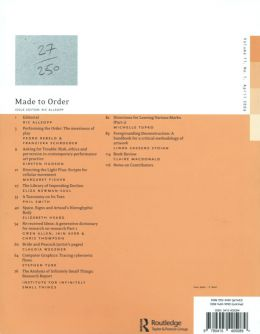 Back cover of Performance Research: Volume 11 Issue 1 - Made to Order