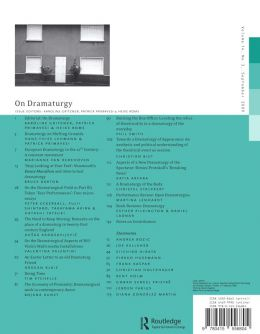 Back cover of Performance Research: Volume 14 Issue 3 - On Dramaturgy