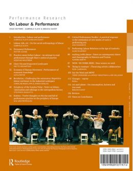 Back cover of Performance Research: Volume 17 Issue 6 - On Labour & Performance
