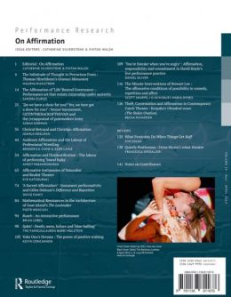 Back cover of Performance Research: Volume 19 Issue 2 - On Affirmation