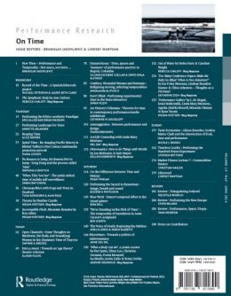 Back cover of Performance Research: Volume 19 Issue 3 - On Time