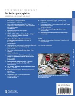 Back cover of Performance Research: Volume 20 Issue 2 - On Anthropomorphism