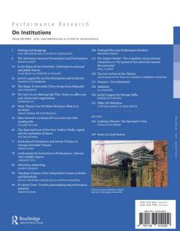 Back cover of Performance Research: Volume 20 Issue 4 - On Institutions