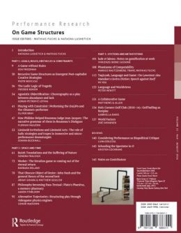 Back cover of Performance Research: Volume 21 Issue 4 - On Game Structures