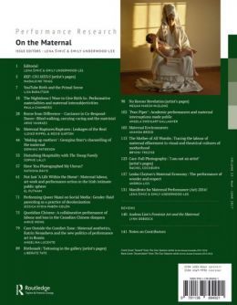 Back cover of Performance Research: Volume 22 Issue 4 - On the Maternal