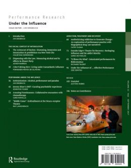 Back cover of Performance Research: Volume 22 Issue 6 - Under the Influence