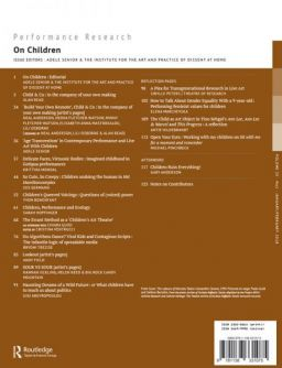 Back cover of Performance Research: Volume 23 Issue 1 - On Children