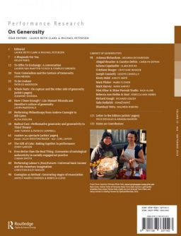 Back cover of Performance Research: Volume 23 Issue 6 - On Generosity