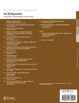 Back cover of Performance Research: Volume 23 Issue 8 - On Disfiguration