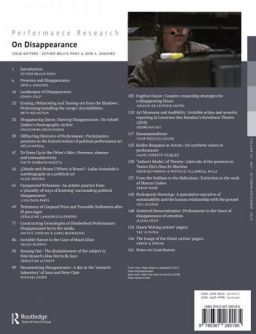 Back cover of Performance Research: Volume 24 Issue 7 - On Disappearance